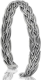Plait Cuff 925 Sterling Silver Bracelet - Made in Thailand
