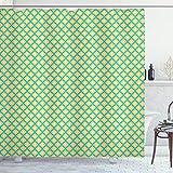 ABAKUHAUS Retro Duschvorhang, Blumenfliesen Kunstmotive, Klare Farben aus Stoff inkl.12 Haken Farbfest Schimmel & Wasser Resistent, 175 x 240 cm, Meer Grün-Gelbe beige