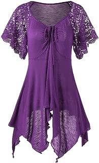 CUCUHAM Women Bandage High Waist Short Sleeve Lace Floral Patchwork Irregular Mini Dress