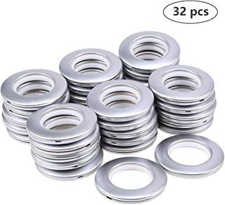 "DeSS 32 Pack Curtain Grommet, Inner Diameter 1-9/16""(40mm) Curtain Eyelet Rings Nanoscale Low Noise Roman Ring (Matt Silver)"