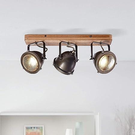 Barre de spot rustique 3 ampoules GU10 max. 5 W, couleur acier brûlé/marron.