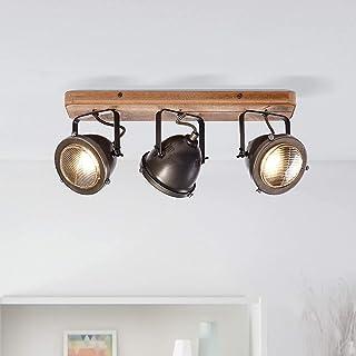 Lightbox - Lámpara de techo retro, regulable, 3 focos, lámpara de techo LED, orientable, casquillo GU10 para máx. 5 W, metal, acero marrón