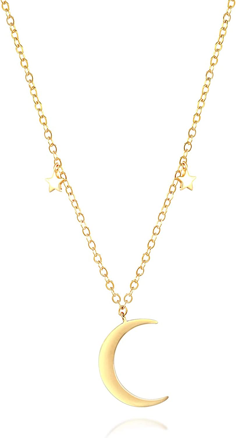 Gold Layered Choker Necklaces for Women - 14K Gold Plated Dainty Crescent Moon and Star Heart Butterfly Retro Handmade Collar Necklace for Girls Christmas Jewelry Gift