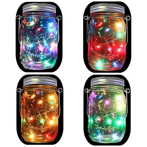 4-Pack Solar Powered Mason Jar Lights (Mason Jar &...