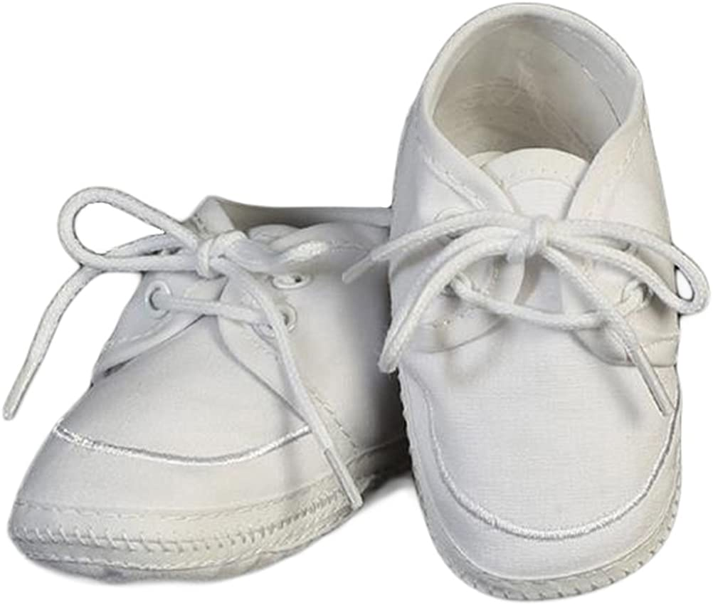 SWEA Pea & Lilli Baptism Shoes for Boys - White Baby Booties Made with Cotton for Christening - Zapatos de Bautizo