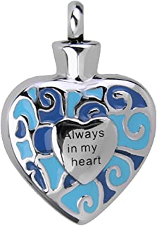 IPOTCH Always In My Heart Heart Pendant Ash Urn Cremation Commemorative Souvenir-Silver, Blue