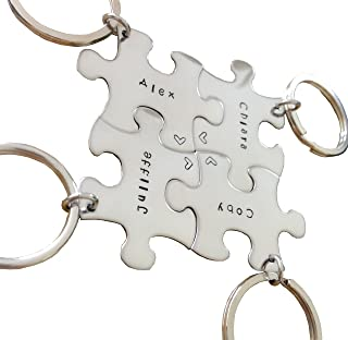 Hand Stamped Personalized Puzzle Piece Key Chain set of 4 - Best Friends Graduation Wedding Gift