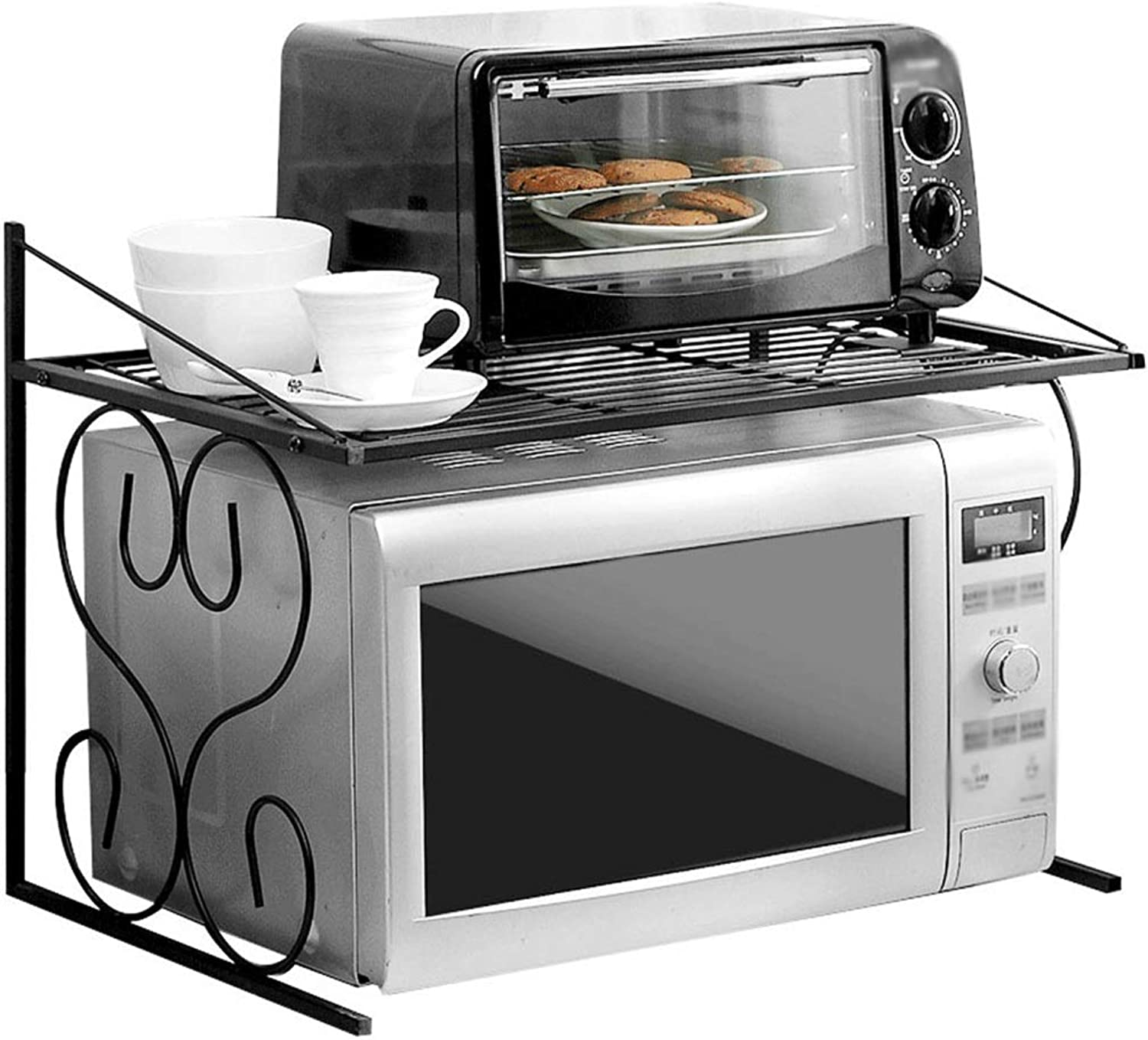 Kitchen Shelf Microwave Shelf Can Be Assembled with Good Stability Iron Paint Metal 1 Floor Stand Black 21.6  14.7  15.7 Inches