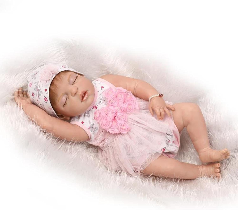 Reborn Baby Dolls Ganzkrper Vinyl Silikon 22 Zoll 57 cm Real Touch Soft Realistische Neugeborenen Baby Doll Geschenk