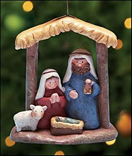 The Holy Family in Stable 3 1/2 Inch Painted Resin Nativity of Christ Ornament
