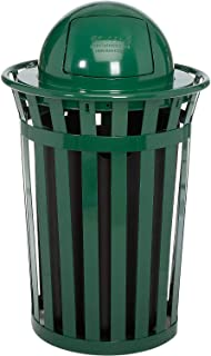 Global Industrial 36 Gallon Outdoor Metal Slatted Trash Receptacle with Dome Lid, Green, Lot of 1