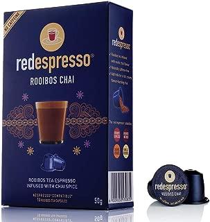 Red Rooibos Tea - Red Espresso - Chai Rooibos Tea Capsules - Nespresso Compatible - Vegan, Non GMO, Organic, Antioxidant, Age-Defying