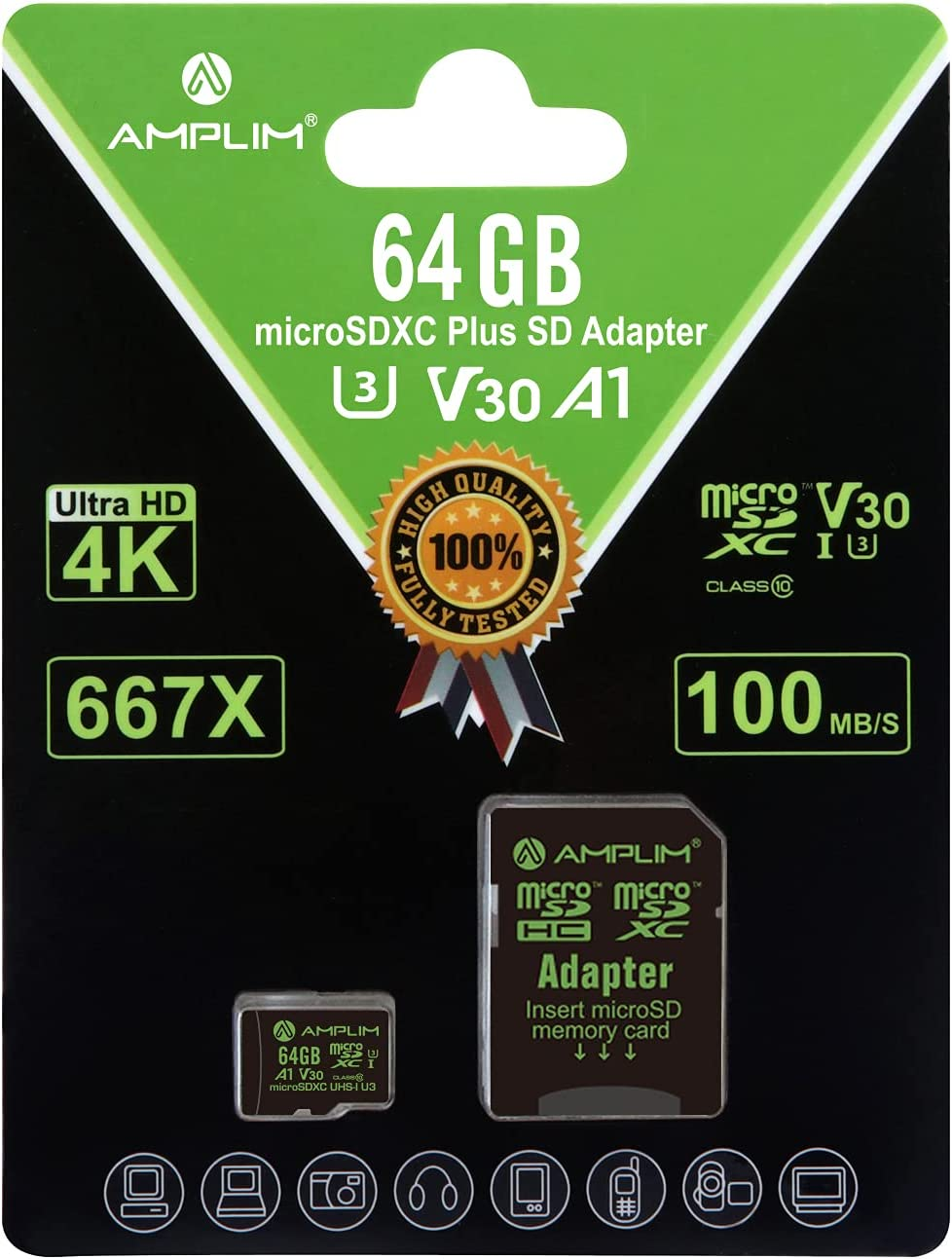 Amplim Micro SD Cheap mail Industry No. 1 order shopping Card 64GB Extreme Plu High MicroSD Memory Speed
