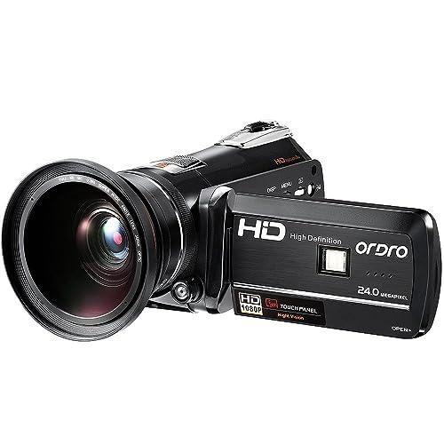 Videocámara ORDRO HDV-D395 Videocámara Cámaras 1080p Visión Nocturna Videocámaras Digitales WiFi Handycam con Lente