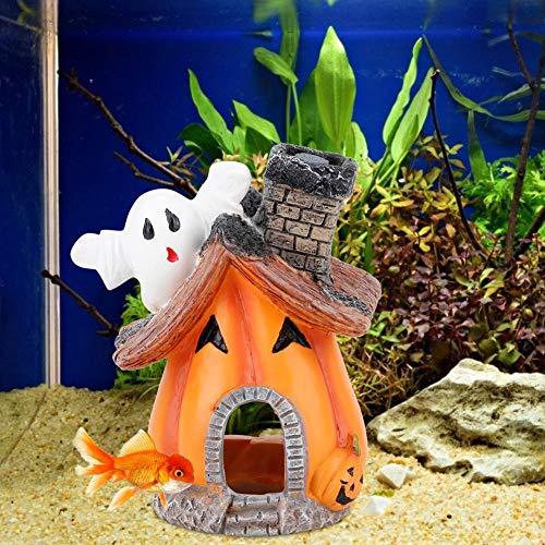 Pssopp - Decorazione per casetta di zucca in resina per acquario, nascondiglio per la casa dei gamberetti, rifugio per pesci e gamberetti, nascondiglio, decorazione paesaggistica con pietra a bolle