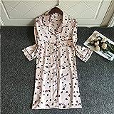 CIDCIJN Camisón De Pijama De Mujer - Satin Silk Nightdress Sleepwear Summer Nuevos Camisones para Mujer Moda Impresión Sexy Ropa De Hogar Ropa De Dormir Lindo, Blanco, XL