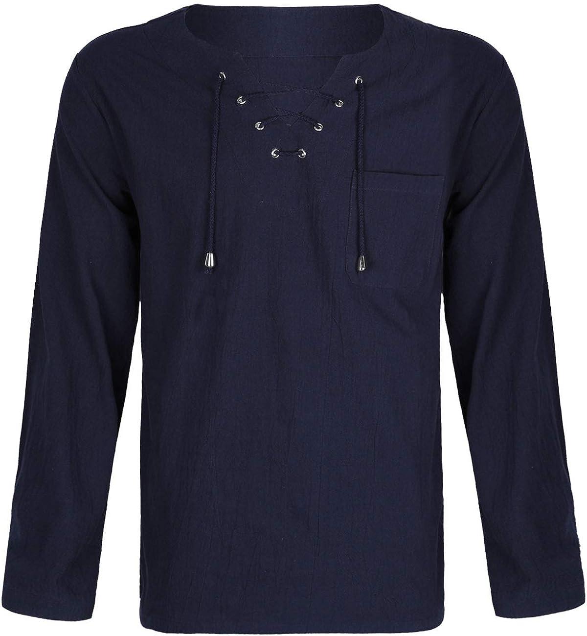 Fashonal Cotton Linen V Neck Hippie Shirt Lace Up Long Sleeve Tunic Tops for Men