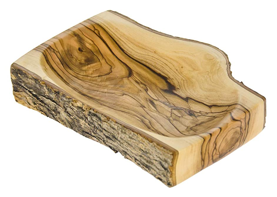From The Earth - Olive Wood Natural Bark Bowl - Rectangular - Fair Trade & Handmade