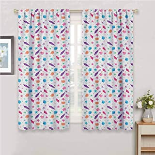 Starfish Curtain Living Room Colorful Hand Drawn Pattern of Abstract Seashells on Dotted Tropical Background Curtains for bedroo Multicolor 63 x 45 inch