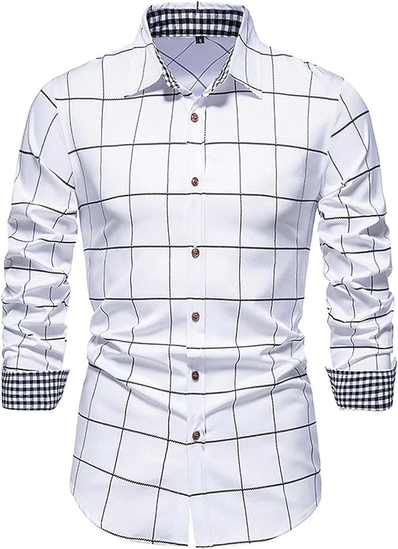 FUNEY Button Up Shirt Men Long Sleeve Hipster Plaid Printed Collar Slim Fit Casual Shirts Formal Classic Dress Shirt