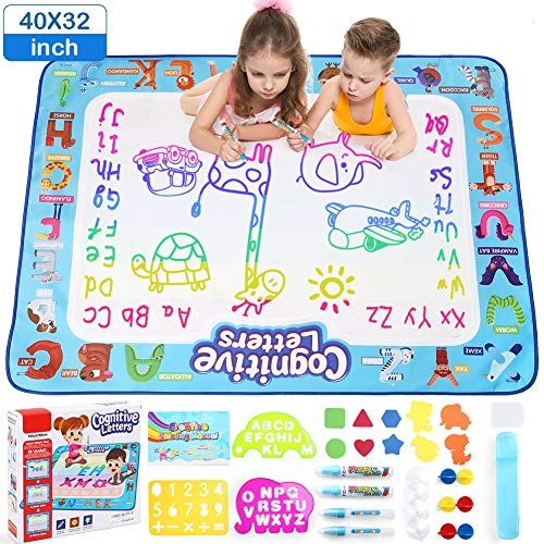 LotFancy Aqua Magic Water Doodle Drawing Mat, Kids Painting Writing Doodle Board Toy, 40 x 32in Extra Large Water Drawing Mat, No Mess Educational Toys Gift for Girls Toddlers Age 5 6 7 8 9 Year-Old