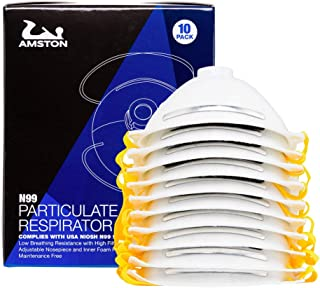 AMSTON N99 Disposable Dust Masks 10 pack - NIOSH-Certified - Safety Particulate Respirator w/Valve for Professional & Home Use (Lightweight, Soft, and Breathable)