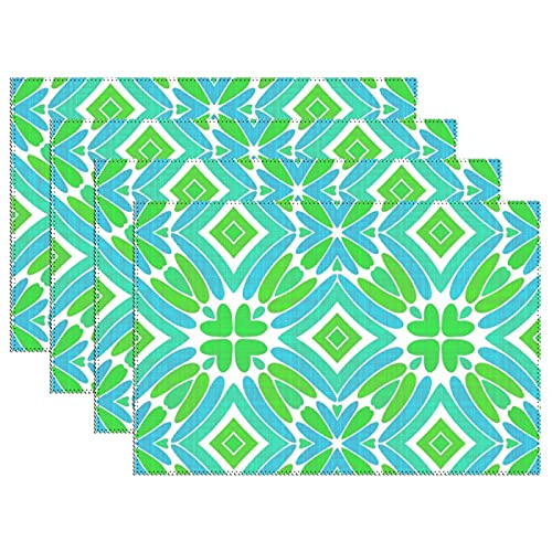 Hip Lime Green Turquoise Blue Tribal Art Pattern Place Mats, Canvas Table Mats Waterproof Washable Heat Resistant Fabric for Kitchen Dining Table Decoration 12 X 18 Inches