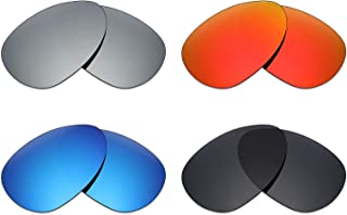 4 Pair Polarized Replacement Lenses for Oakley Crosshair S Sunglass - Stealth Black/Fire Red/Ice Blue/Silver Titanium