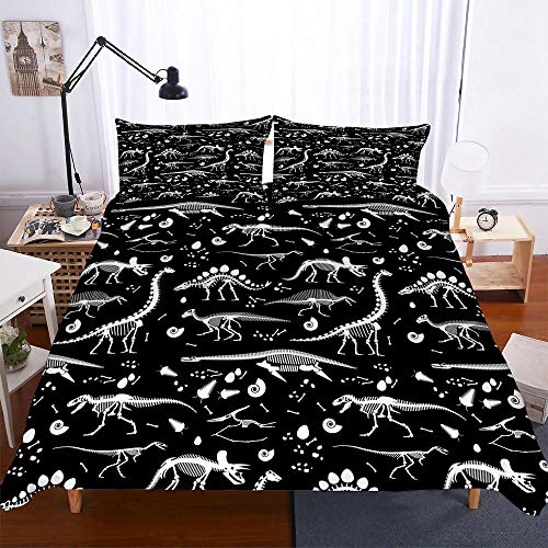 AHJJK Duvet cover set 55 x 79 inchBlack dinosaur skull 3D Printed Microfiber Bedding Duvet Cover with 2x Pillowcases & Zipper Closure Quilt Case for Boy Girl Single Double King Bed