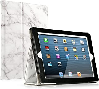 RUBAN iPad 2/3/4 Case Release [Corner Protection]-[Scratch-Resistant] and High-grade PU Leather Folio Stand Smart Cover, Auto Wake/Sleep for Apple iPad 2th/3th/4th Gen with Retina Display,White Marble