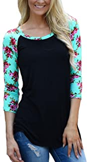 KufvWomens Prints Florals 3/4 Sleeve Crew Neck Top Tshirt