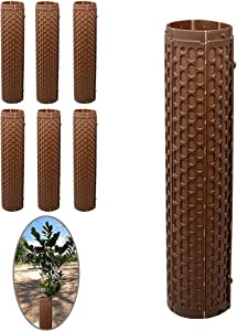 Smart Spring Plant and Tree Guard Protector; Wrap Tall Expandable Grow Tubes Around Trunk Bark, Landscape Plants, Saplings, and Vines; Protection from Trimmers & Weed whackers (Brown) (6)