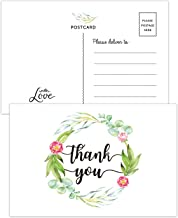 50 Greenery Thank You Postcards, Thank You Cards for Wedding, Bridal Shower, Baby Shower, Birthday, Business, Blank Postcards, 4x6 Inches.
