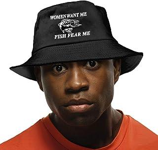 Women Want Me Fish Fear Me Men's Sun Hat Fisherman Bucket Hat Womens UV Protection Fishing Cap Black