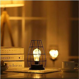 Lámpara De Mesita De Noche Luz De Noche Retro Carga De Batería Decoración Blanca Cálida Hierro Dormitorio Sala De Estar Oficina Cocina Protección Ocular 13 * 13 * 28 (Color:Flagon 12*12*19cm)