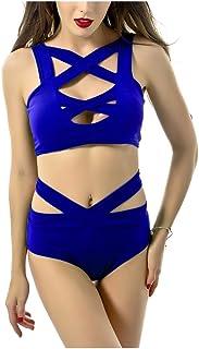 ODCOLTD Jelinda 2Pcs Women Sexy Crisscross Bikini High Waist Bandage Bikini Swimsuit XXL Royal Blue