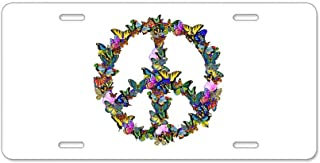 CafePress Butterflies Peace Sign Aluminum License Plate, Front License Plate, Vanity Tag
