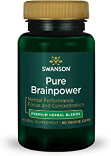 Swanson Pure Brainpower Brain Health Cognitive Memory Focus Support Brain-Derived Neurotrophic Factor (BDNF) Herbal Supplement (Ginkgo Biloba, Bacopa Monnieri) 60 Veggie Capsules (Veg Caps) Vegan