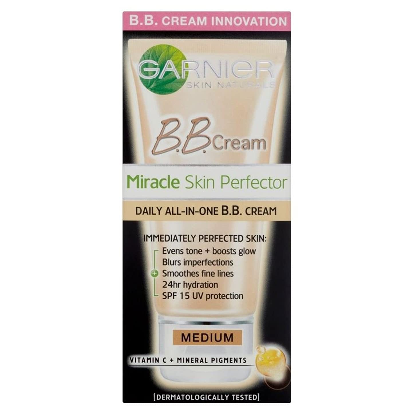 ビーチポンプ抹消Garnier Miracle Skin Perfector B.B. Cream with SPF 15 - Medium (50ml) Spf 15とガルニエ奇跡のスキンパーフェクのb.B.クリーム - 培地( 50ミリリットル)