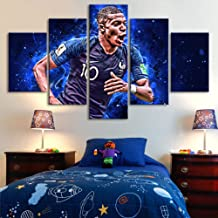 Football poster France Mbappe 5 pieces of wall canvas painting football sports poster wall art poster children's room home...