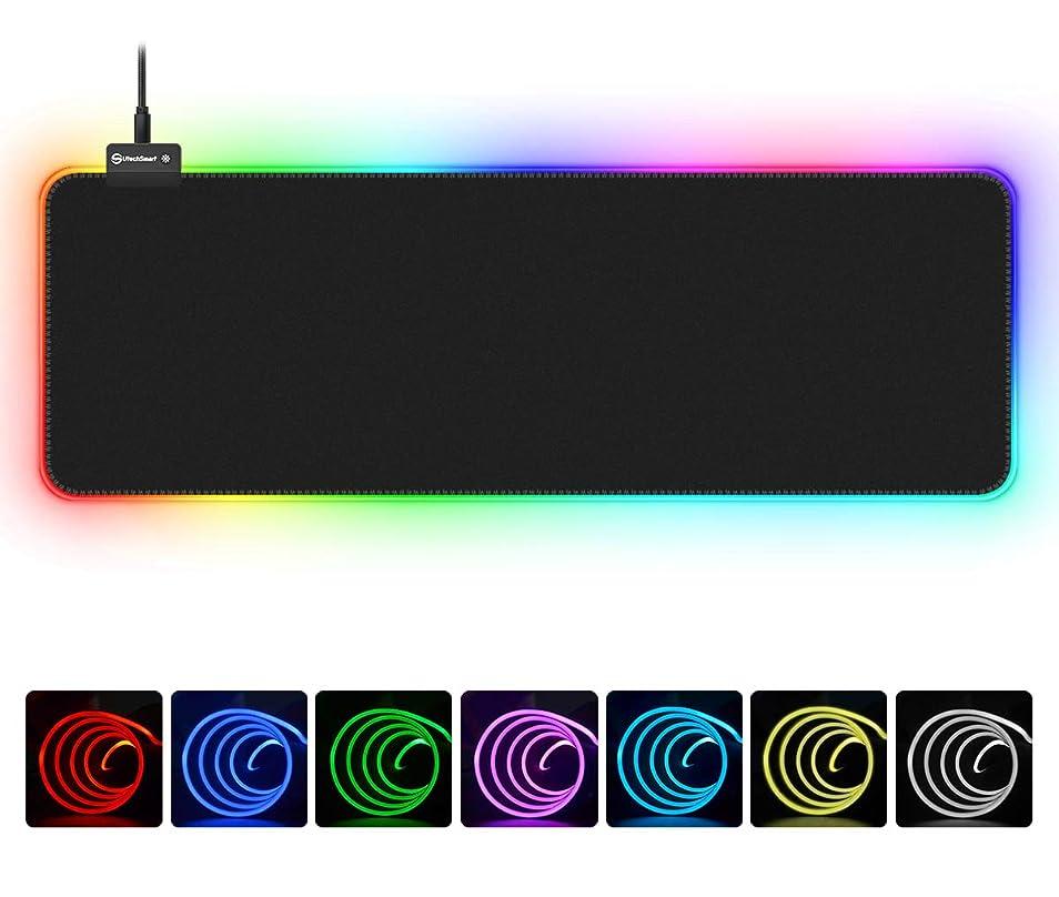 冷える電気のかかわらずUtechSmart RGBゲーム用マウスパッド 大型拡張ソフトLEDマウスパッド 14種類の照明モード 2つの明るさレベル コンピュータキーボードマウスパッド マット800 x 300mm / 31.5 x 11.8インチ