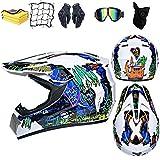 RZKJ Casco de motocross, Unisexo Casco de Motocross,casco de bicicleta de montaña,Set con Gafas/Máscara/Red Elástica/Guantes/toalla (A,XL(61-62CM))