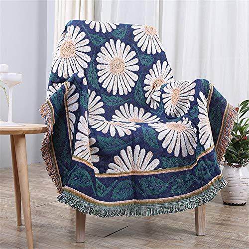 PQXOER Deken met franjes, zacht gezellig katoen, geweven, omkeerbaar, voor stoel, bank, woonkamer, slaapkamer