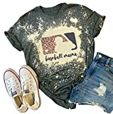 Baseball Mama Bleached T-Shirt for Women Funny Leopard Graphic Mama Distressed Shirt Letter Print Baseball Mom Tee Tops (Grey, XL)