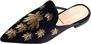 MAVIRS Mules for Women, Women Embroidery Velvet Mule Slippers, Woman Slip on Backless Loafers