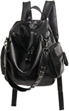 Well-made Women's Backpack Washed Leather Rivets Three Multi-purpose Travel Backpack Retro (Color : Black)