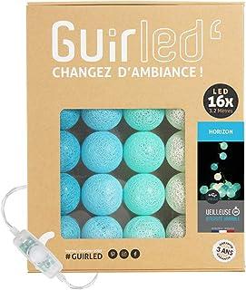Guirlande lumineuse boules coton LED USB - Veilleuse bébé 2h - Adaptateur secteur double USB 2A inclus - 3 intensités - 16...