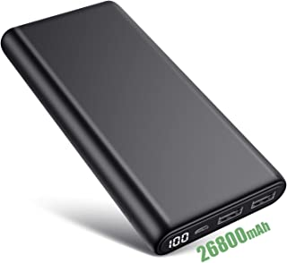 iPosible Batería Externa 26800mAh Power Bank Ultra Capacidad Cargador Portátil Móvil con 2 Puertos USB y Pantalla LCD Batería Externa Movil para Android Smartphones Tabletas y Más