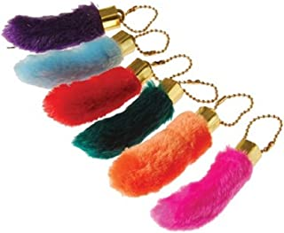U.S. Toy Assorted Color Faux Fake Lucky Rabbit's Foot Key Chains Key Rings