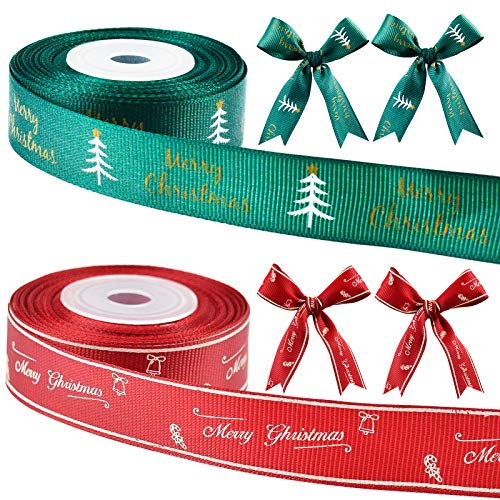 Xmas Ribbons 2 cm/0.78 inch Wide 2 Rolls,Satin Ribbons for Crafts Decorations,Christmas Ribbons for Gift Box Wrapping/DIY Crafts/Trees